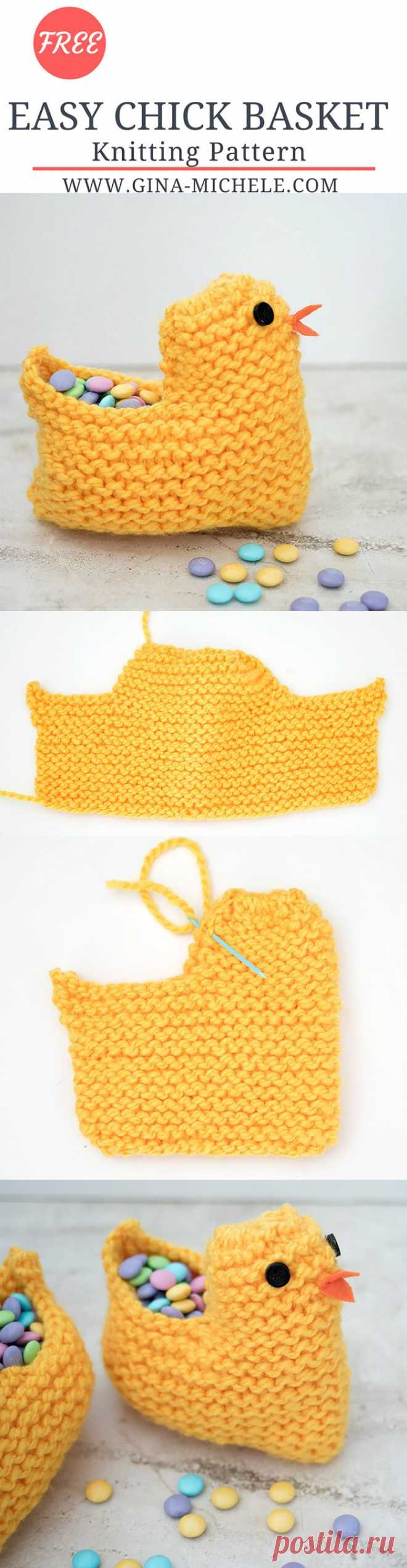 FREE knitting pattern for this Easy Easter Chick Basket! Flat knit & beginner friendly! #knitting