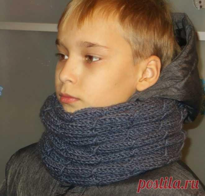 Детский снуд спицами для мальчика схема