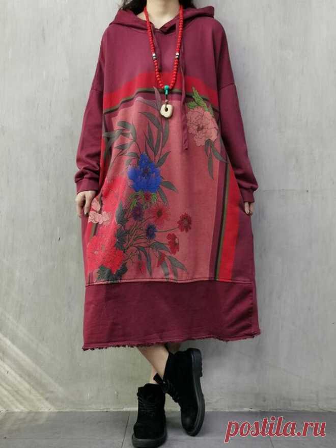 Cotton Hoodie Dress large size dress Casual Kaftan plus | Etsy