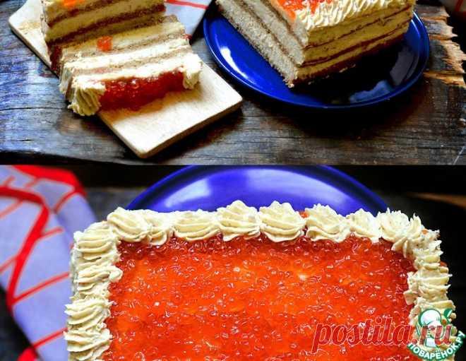 Селёдочный торт с красной икрой – кулинарный рецепт