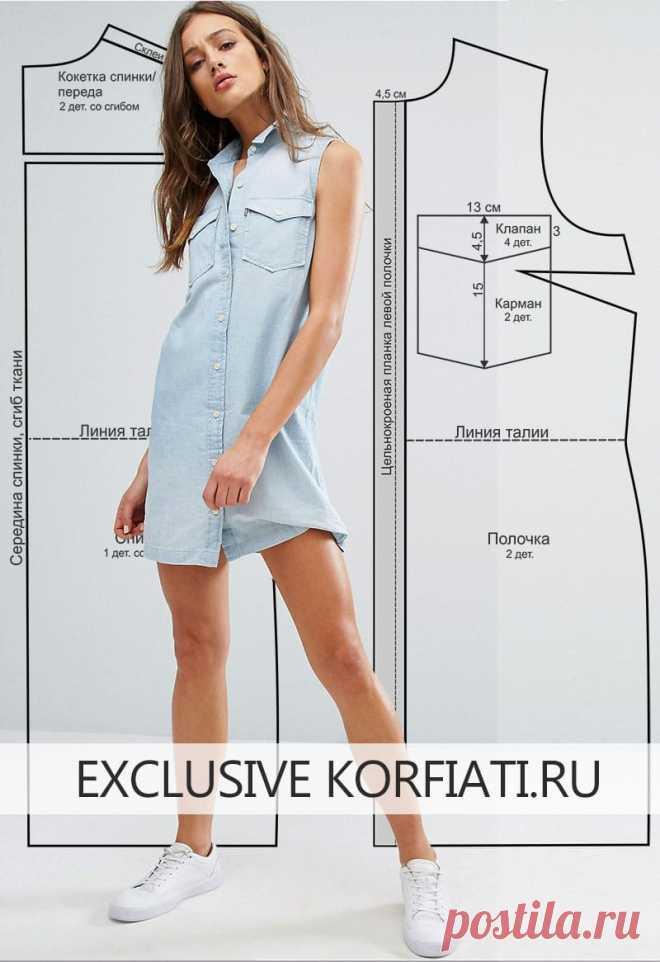 Выкройка платья-рубашки без рукавов от Анастасии Корфиати Выкройка платья-рубашки без рукавов в стиле вестерн. Минимум швов - максимум комфорта! Для пошива этой модели вам потребуется натуральный лен голубого цвета