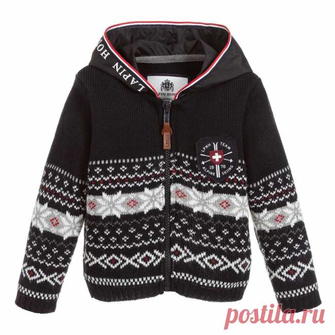 Blue Zip-Up Hooded Cardigan Boys navy blue zip-up cardigan fromLapin House, knitted in soft mid-weight acrylic. It has a lovely red, grey and whiteFairisle pattern and a logo patch on the chest. The silky-smooth attached hood has a white logo print, and red, white and blue trim.