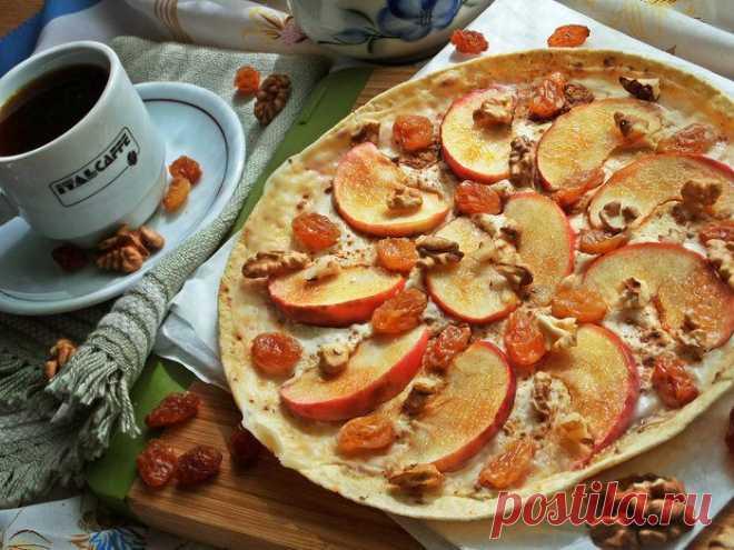 Яблочная «пицца»   Foodbook.su Такую десертную