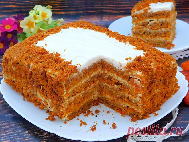 Морковный торт без сахара: всего 50 минут и роскошный десерт готов   Еда на каждый день   Яндекс Дзен