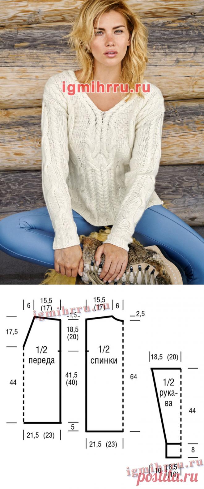 Белый шерстяной пуловер с коллажем узоров из «кос». Вязание спицами