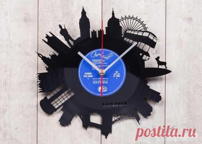 Часы из виниловой пластинки «Лондон» купить подарок в ArtSkills: фото, цена, отзывы