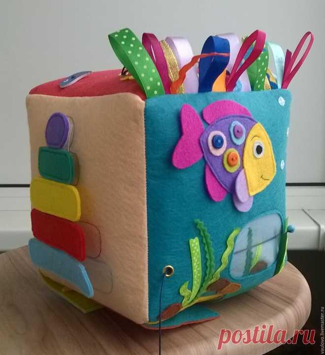 Купить Развивающий куб из фетра - синий, развивающий кубик, кубик для детей, кубик из фетра