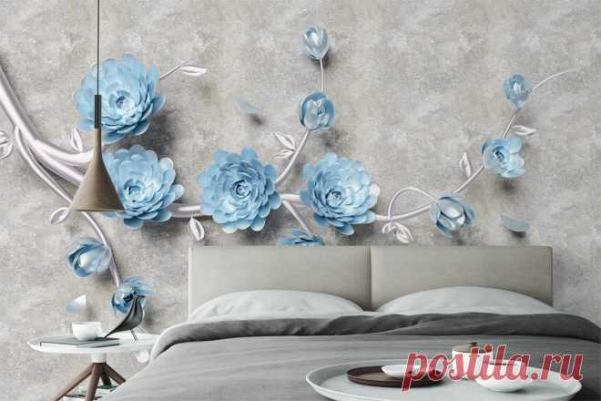 3Д фотообои с цветущей серебряной веткой