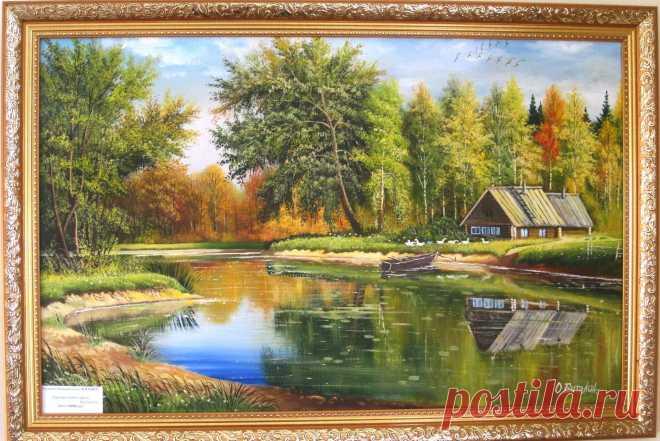 """Дом у озера"" О.Бутолин. Холст, масло. 79х51"