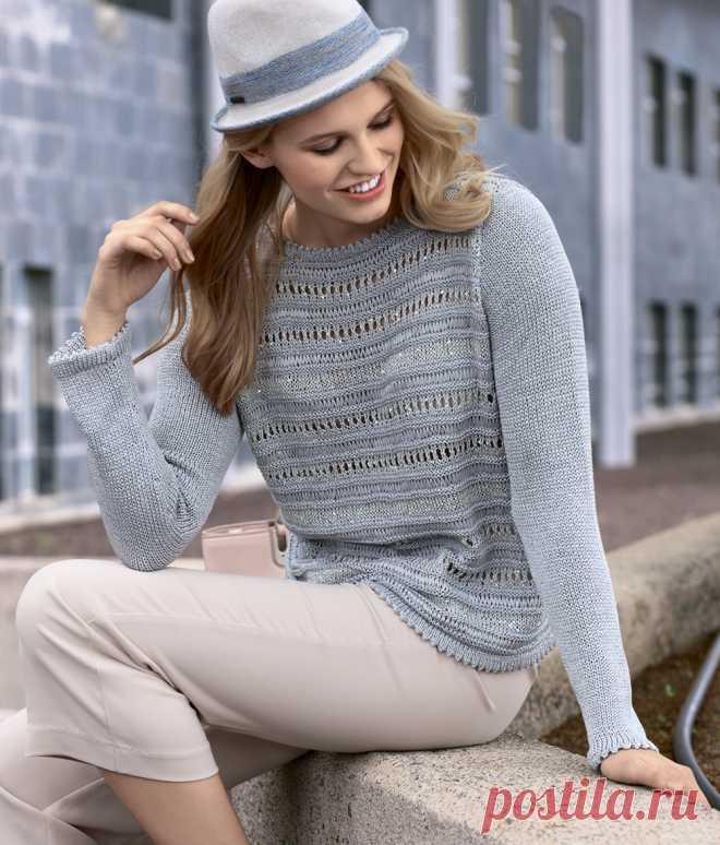 Джемпер с полосами ажура и пайетками - схема вязания спицами.