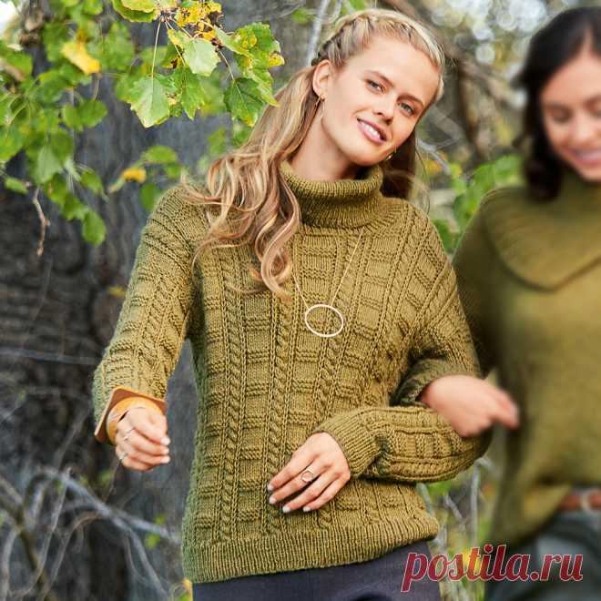 ae37667f3074 Женский свитер с шахматным узором - схема вязания спицами. Вяжем ...