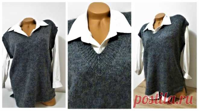 СТИЛЬНЫЙ И МОДНЫЙ ЖЕНСКИЙ ЖИЛЕТ ОВЕРСАЙЗ.  #жилет_спицами@knit_best, #жилет_женский@knit_best  РАСЧЁТЫ НА ВСЕ РАЗМЕРЫ.  Источник: https://youtu.be/PbZWVLQHBD4