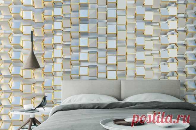 Фотообои 3Д с блестящими объемными кубами