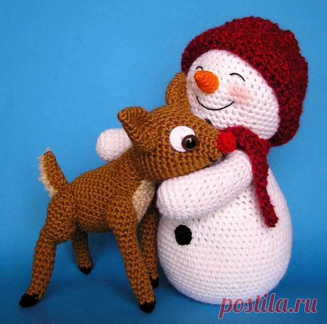 Crochet SNOWMAN and FAWN pattern English only | Etsy