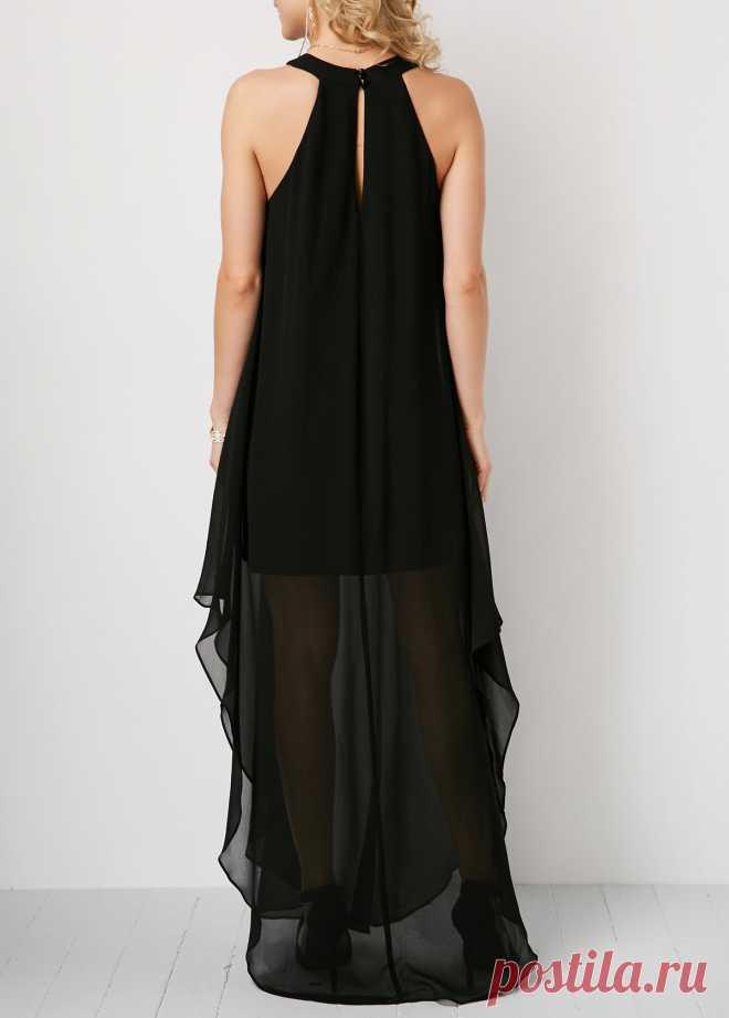 Vestido largo sin espalda con abertura en negro   liligal.com - USD $ 34.90