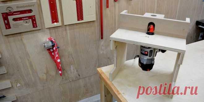 Рабочий стол для фрезера Мастер занимается столярными работами и во время работы ему нужно было детали обработать фрезером. Для его установки он сделал небольшой рабочий столик. Инструменты и материалы:-Столярный клей:-Фанера;-МДФ;-Гвозди;-Шурупы;-Суперклей;-Болты, барашковые гайки, резьбовые вставки;-Торцовочная