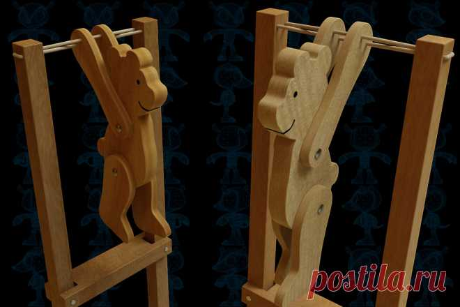 Trapeze Bear Wooden Toy - SketchUp,Parasolid,SOLIDWORKS,OBJ,Autodesk