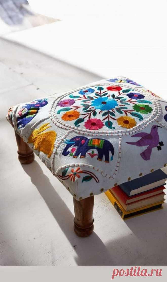 Вышивка стула Модная одежда и дизайн интерьера своими руками