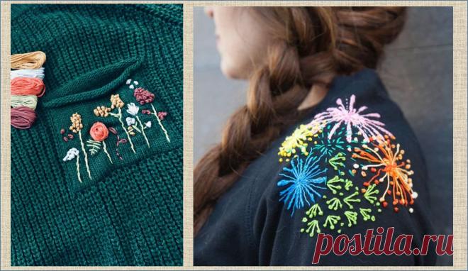Вышивка - переделка кофточки или свитера без перекроя - примеры и образцы для вдохновения   МНЕ ИНТЕРЕСНО   Яндекс Дзен