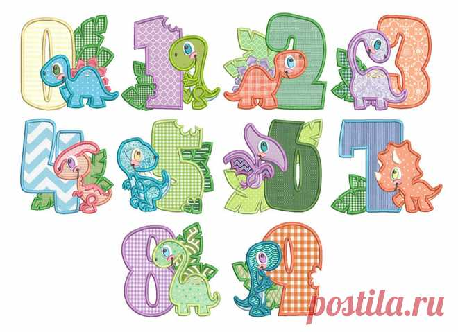 Dino Numberss Applique