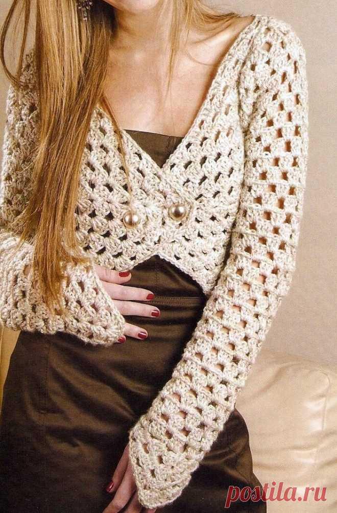 Коллекция женских жакетов и кардиганов крючком, со схемами узоров | Sana Lace Knit | Яндекс Дзен