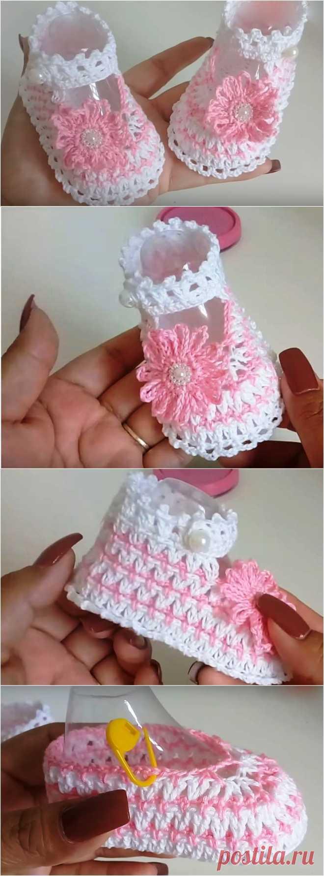 Связанные крючком детские туфли с цветком от 0 до 3 месяцев - Идеи вязания крючком