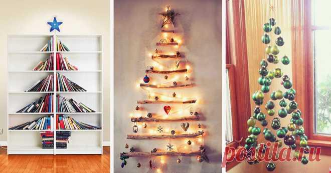 15 оригинальных идей для новогодней ёлочки 🎄 🎉 Идеальный вариант для небольшой квартиры.