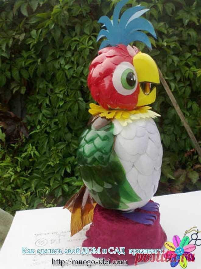 Мастер класс попугай из пластиковых бутылок |