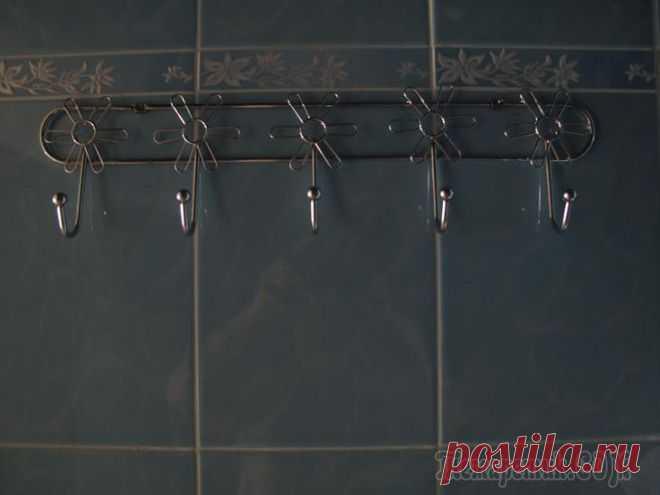 Крепим вешалку в ванной, на кафельную плитку. МК.
