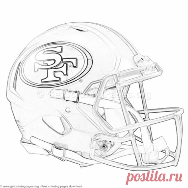 Grayscale San Francisco 49ers Football Helmet Coloring Pages