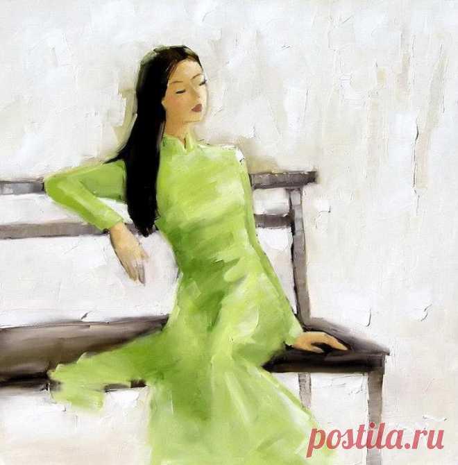 Пора цветенья скоро отойдет...Ha Huynh My - Вьетнамская художница