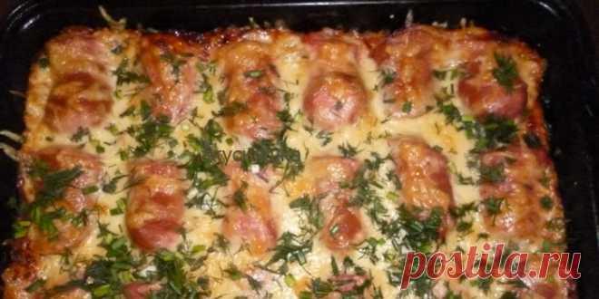 Картофельная запеканка с сосисками и сыром для воскресного утра!