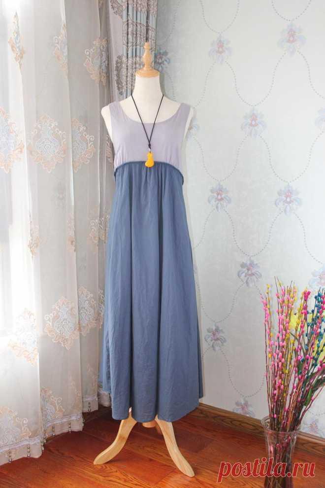 Women Summer long dress Cotton sleeveless dress evening | Etsy
