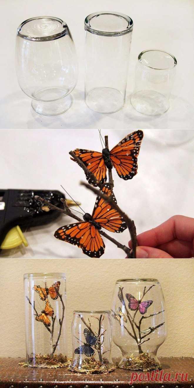 Идея для декора: искусственные бабочки под стеклом