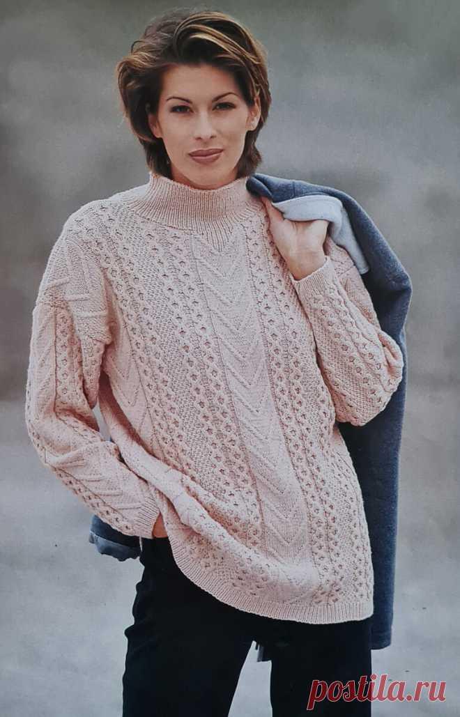 Весенний пуловер с вертикальными узорами   Рукоделие   Яндекс Дзен