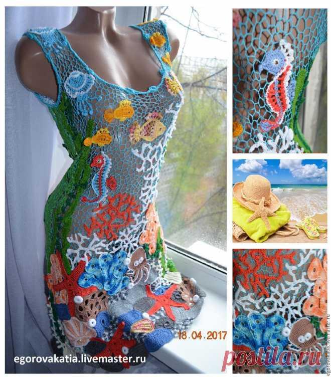 c33b5600bc2 морская туника-платье с рыбками – купить в интернет-магазине на Ярмарке  Мастеров с