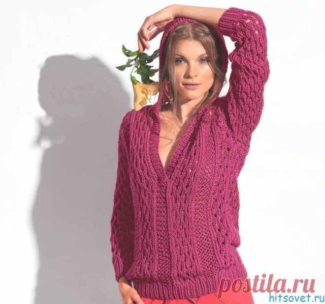 Вязаный пуловер с капюшоном - Хитсовет
