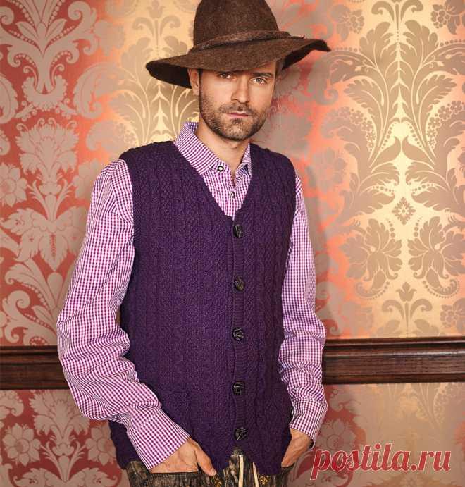 мужской фиолетовый жилет схема вязания спицами вяжем жилеты на
