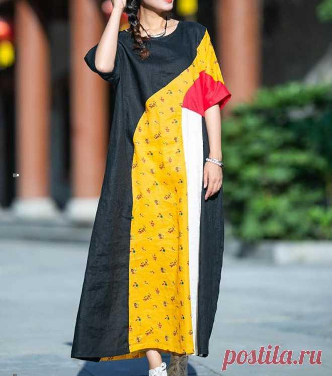 Womens black Linen maxi dresses Raglan sleeve dress circle | Etsy