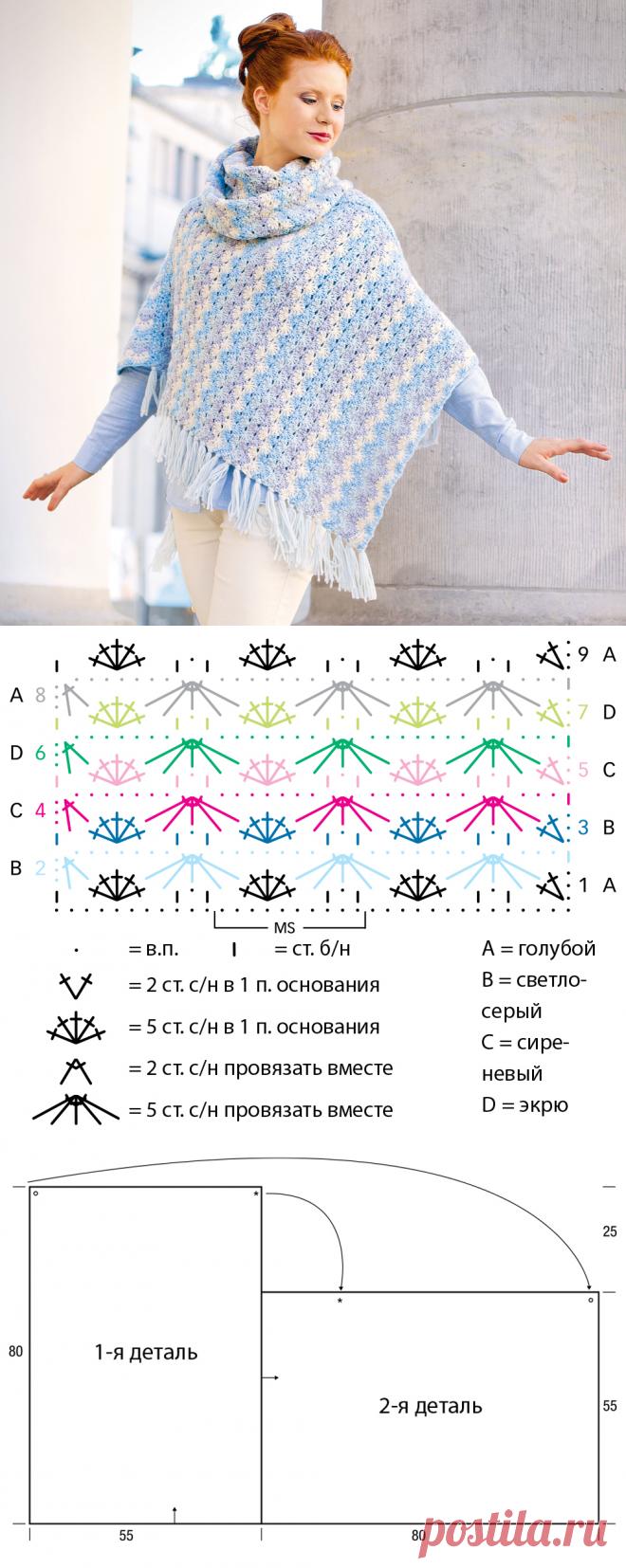 Картинки схемы вязание пончо