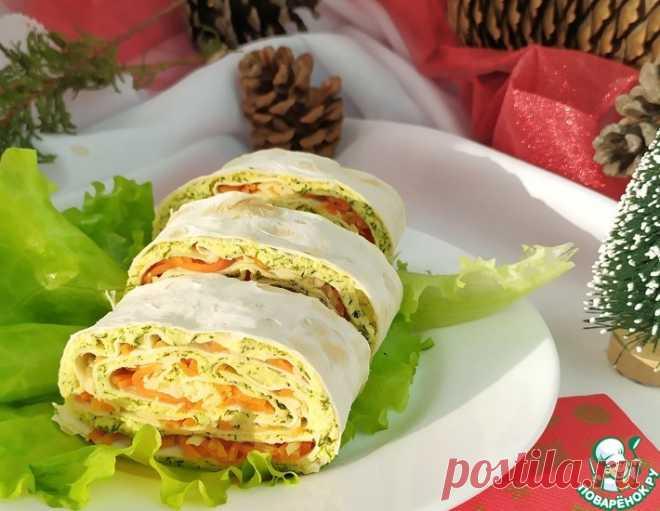 Рулет из лаваша с корейской морковью – кулинарный рецепт