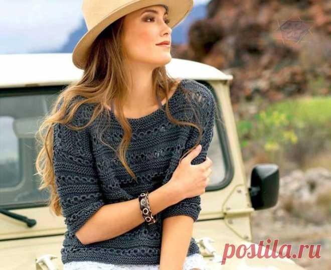 Легкий джемпер с коротким рукавом (Вязание спицами) – Журнал Вдохновение Рукодельницы