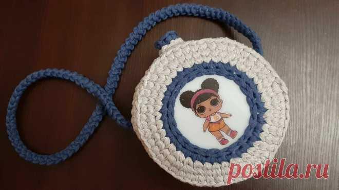 Детская круглая сумочка из трикотажной пряжи. Бесплатное описание | Anna Gri Crochet | Яндекс Дзен