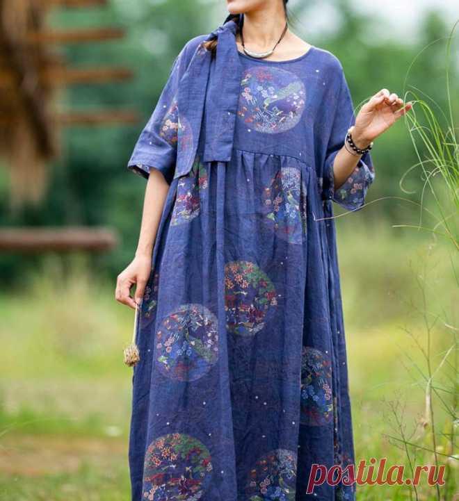 Women long dress ramie Printed dress maxi dress Long summer | Etsy