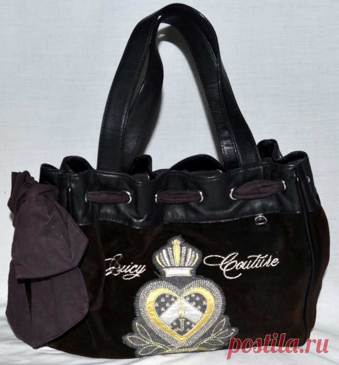 Juicy Couture Black Velour Daydreamer Large Shoulder Bag w/ Bow & Crown Applique | eBay