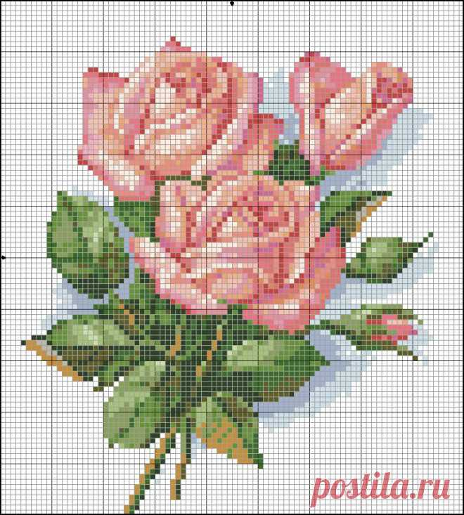 Skhemki of flowers \/ Scheme of an embroidery cross \/ PassionForum - master classes in needlework