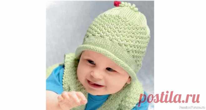 Вязаная шапочка для младенца | Вязание спицами для детей Шапочка для младенца связана на чулочных спицах теплая и удобная. Вяжется шапочка для новорожденных легко и быстро. Размеры:74-80/86-92 (9-12 месяцев/1-2 года)Материалы для вязания:50 г светло-зелёной пряжи Island (100% хлопка, 125 м/50 г), набор чулочных спиц № 3, крючок № 2,5.Лицевая...