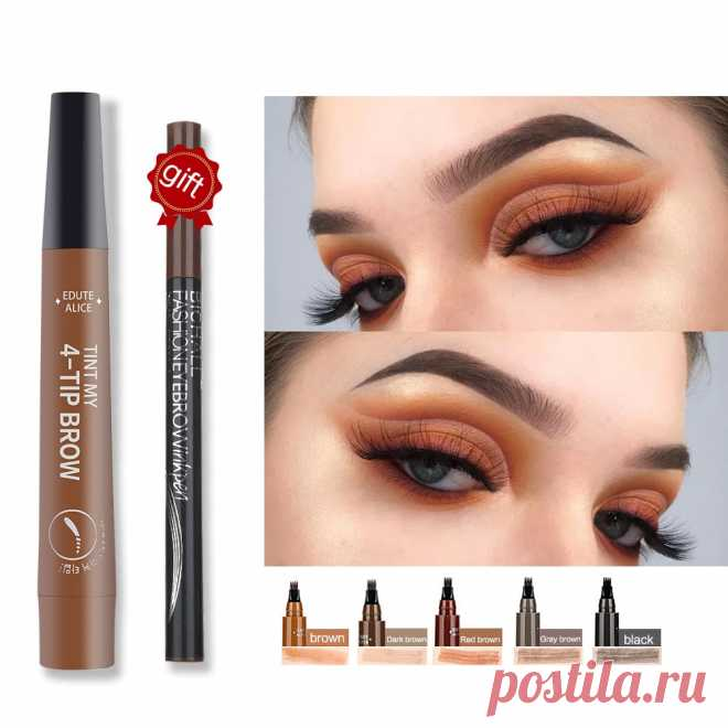 Жидкий карандаш для бровей Tint my 4-tip, водостойкий, хорошо нанесенный, тату, макияж для женщин, косметика для глаз, натуральный дикий коричневый гель для бровей