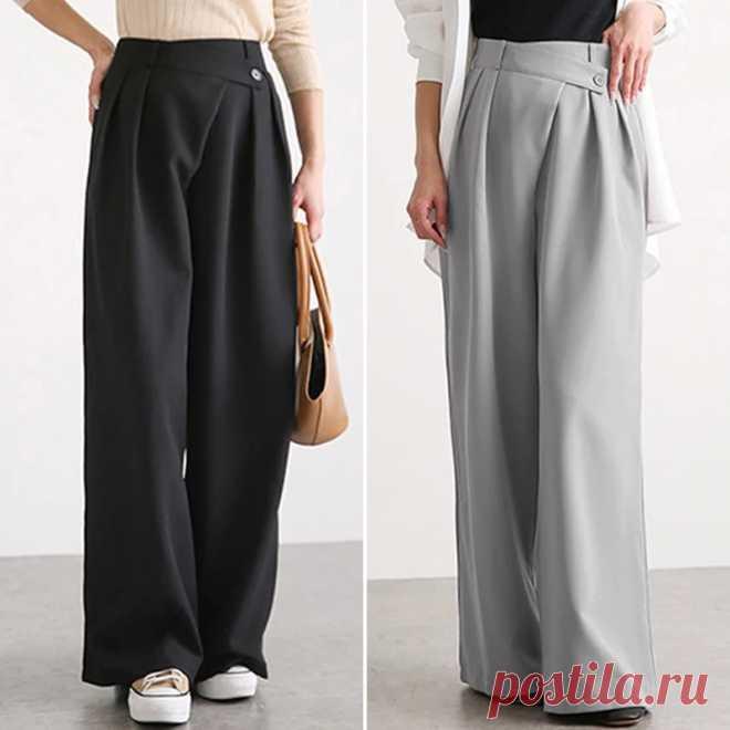 Женские свободные брюки ZANZEA, повседневные брюки большого размера с широкими штанинами, повседневные эластичные однотонные брюки палаццо с поясом | Брюки