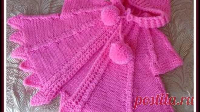 Вяжем спицами - розовая накидка для девочки